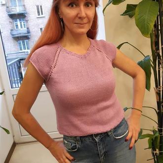 Вязаный фиолетовый женский топ