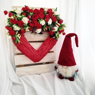 Вінок серце, вінок на день всіх закоханих, валентинки, весняний вінок, подарунок жінці