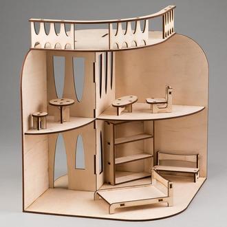 Домик для миниатюрных куколок с мебелью