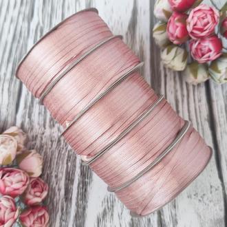 Лента атласная розовая пудра  0,3 см (91 метр)