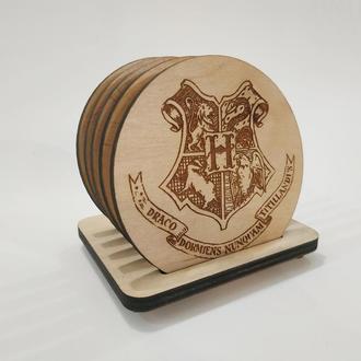 Подставки под чашки Гарри Поттер. Подарок любителям Гарри Поттера. Деревянные костеры