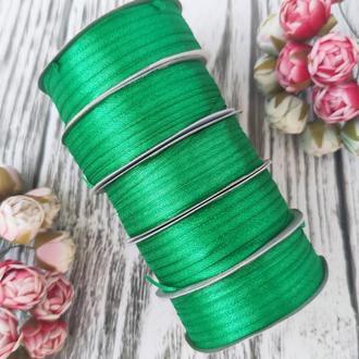 Стрічка атласна зелений 0,3 см (91 метр)