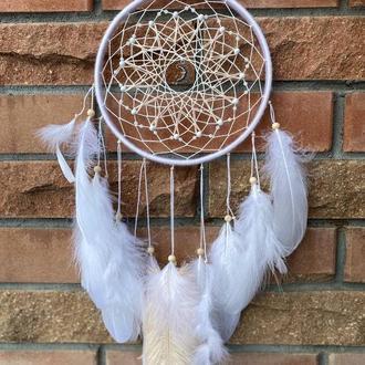 Белый ловец снов с пером гуся. Подарок любимой.