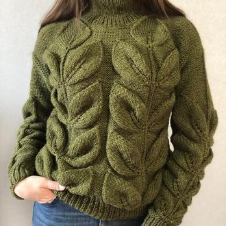 """Вязаный свитер """"Мега-листья"""""""