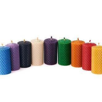Кольоровий ЕКО подарунковий набір з 9 свічей з вощини