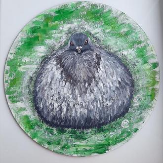 """Картина гуашью на картонном полотне """"Голубчик объелся голубцов"""""""