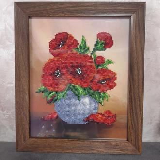 Картина бисером Маки вышивка бисером ручная работа