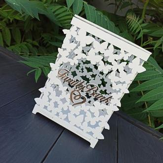 Свадебная резная подарочная коробка, казна, футляр, семейный банк белого цвета для конвертов