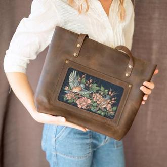 Большая коричневая кожаная сумка с росписью ручной работы