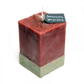 Свеча-програмная для защиты физической, от недоброжелателей ярко-красная+серебро, квадратная