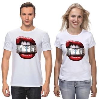Парные футболки губы и доллары