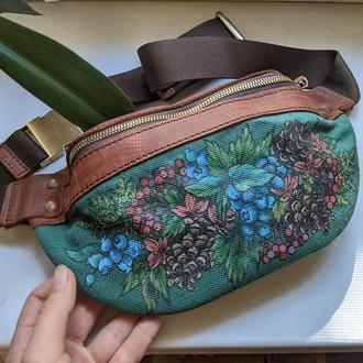 Коричневая рыжая поясная сумка из натуральной кожи с рописью
