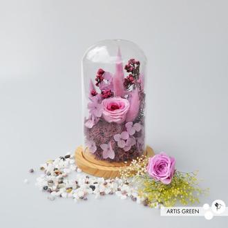 Колба со стабилизированными растениями и розой «Purple&pink»