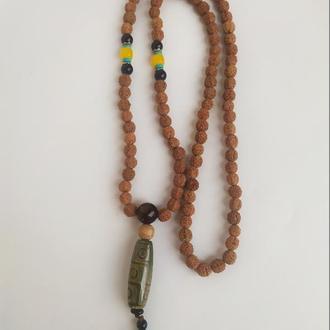 """Магическое ожерелье из Рудракши с Тибетской бусиной Дзи """" 9 глаз """""""
