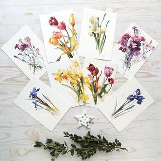 Набор из 8 акварельных открыток с весенними цветами