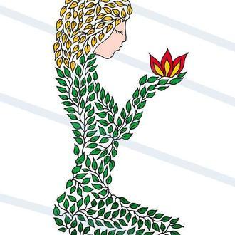 Женский образ из листьев. Графика. Картина А3. Принт #2