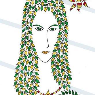 Женский портрет из листьев. Графика. Картина А3. Принт.
