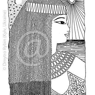 Девушка в египетском стиле. Графическая картина А3. Принт. Авторская копия.