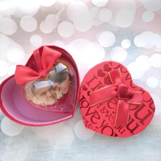 Сердце шейкер с фото Валентинка 8см