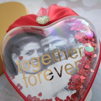 Именное сердце шейкер с фото Валентинка 10см