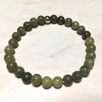 Браслет Жадеит тонкий, натуральный камень, цвет зеленый и его оттенки \ Sb - 0123