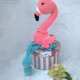 Мягкая игрушка розовый фламинго. Игрушка вязаная крючком. Плюшевый фламинго