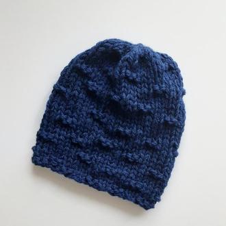 Шапка біні унісекс легка темно синя весняна шапочка
