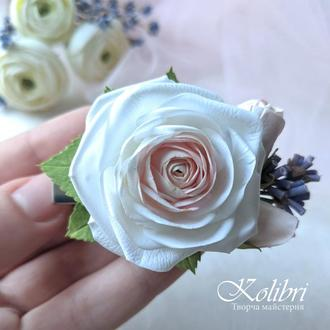 Заколка для волос с розой и лавандой