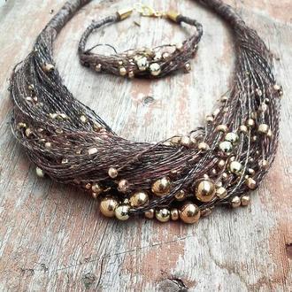 Набор эко-украшений из льняной нити с золотистыми бусинами. Колье и браслет.