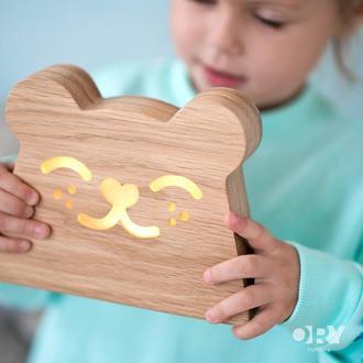 Дизайнерський дерев'яний нічник / світильник Ory Ведмедик з індивідуальним гравіюванням