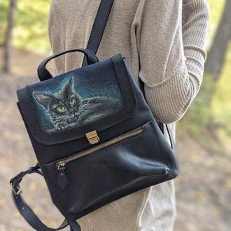 Черный кожаный рюкзак с росписью ручной работы КОТ