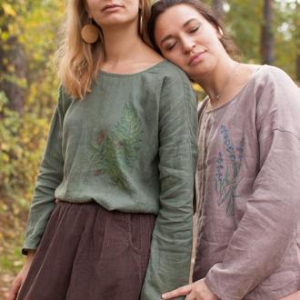 Легкая льняная блуза рубашка с длинным рукавом и ручной росписью
