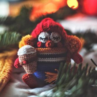 Рождественский пингвин / Новогодний пингвин / Игрушка вязаный пингвин / Зимние игрушки