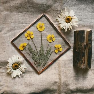 Весенний витраж с гербарием. Декор для дома.