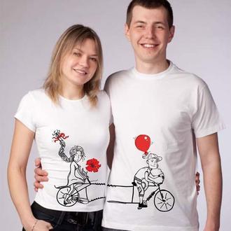 Футболки для влюбленных Велосипедисты