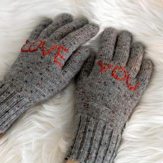 Перчатки вязаные подарок на День Валентина на День влюбленных, серые шерстяные перчатки