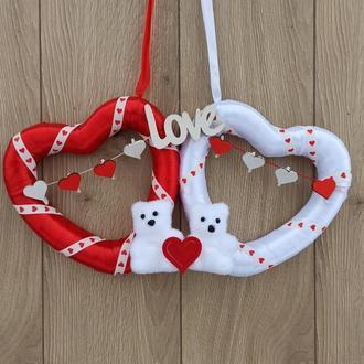 Декор до дня святого Валентина - серця з ведмедиками як вінок надвері, стіну,