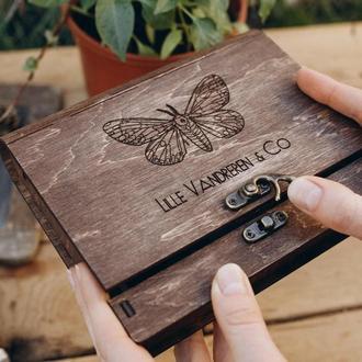 """Подарочная коробка для фото 10x15 см. В винтажном стиле, подарок для него / нее - """"Нью-Йорк"""""""