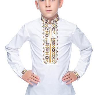 Сорочка для хлопчика Дубове листя (льон білий)