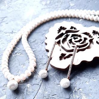 Комплект з натуральними перлами та Майоркою у позолоті