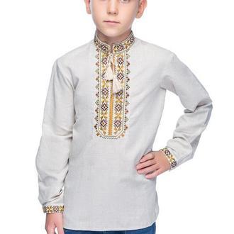 Сорочка для хлопчика Дубове листя (льон сірий)