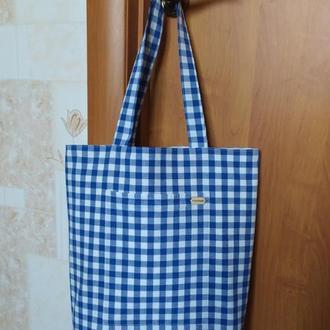 """Легкая удобная сумка шоппер """"Help"""" подкладка и 2 удобных кармана хлопок"""