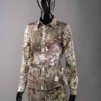 Блуза женская вискозная цветная на кулиске.