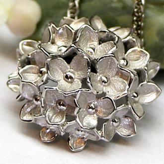 Серебряный кулон Букет, без камней, родированное серебро 925 пробы