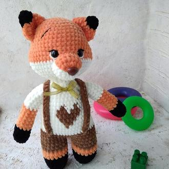 Плюшевая лисичка. Мягкая игрушка лиса. В'язання игрушка