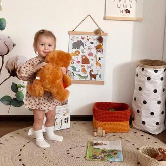Бежевый ковёр хлопковым шнуром. Класний декор в детскую или гостиную