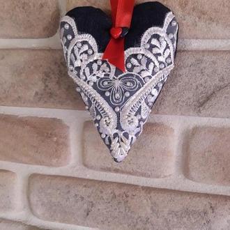 Сердечко текстильне
