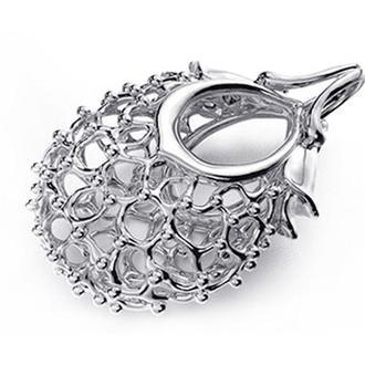 Маленький кулон Ягідка, без каміння, срібло 925 проби, родій