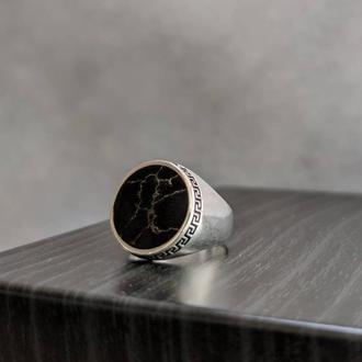 Купить перстень мужской серебро Оникс натуральный оригинальный Кольцо из серебра