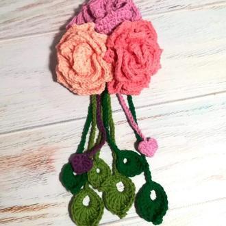 Букет роз - декор для сумок и шляп, Заготовка для брошей, брелков, заколок